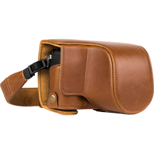 MegaGear Ever Ready Leather Camera Case for Panasonic Lumix DMC-GX85, GX80 with 12-32mm Lens (Light Brown)
