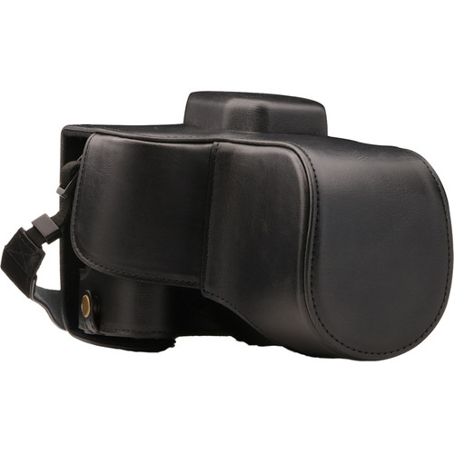 MegaGear Ever Ready PU Leather Case with Strap for Canon EOS Rebel SL2, EOS 200D & Kiss X9 with 18-55mm (Black)