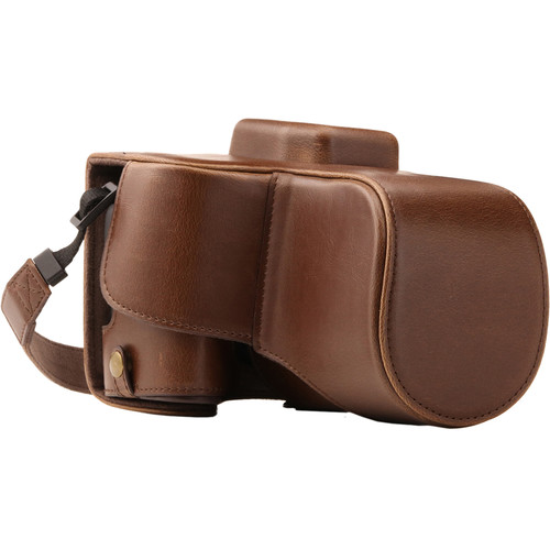 MegaGear Ever Ready PU Leather Case with Strap for Canon EOS Rebel SL2, EOS 200D & Kiss X9 with 18-55mm (Dark Brown)