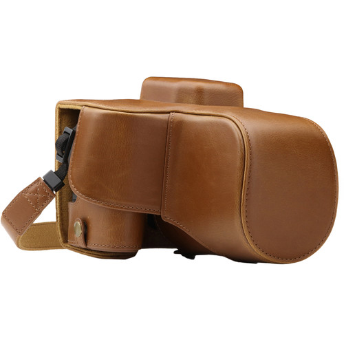 MegaGear Ever Ready PU Leather Case with Strap for Canon EOS Rebel SL2, EOS 200D & Kiss X9 with 18-55mm (Light Brown)