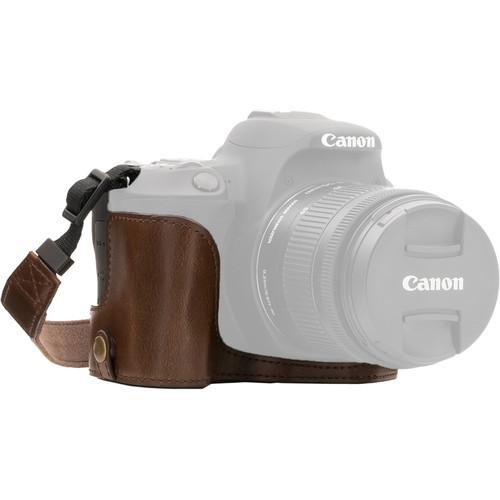 MegaGear Ever Ready Half Case and Strap for Canon EOS Rebel SL2, EOS 200D, Kiss X9 (Dark Brown)