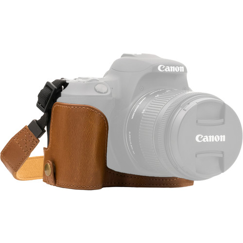 MegaGear Ever Ready Half Case and Strap for Canon EOS Rebel SL2, EOS 200D, Kiss X9 (Light Brown)