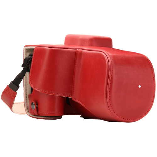MegaGear Ever Ready PU Leather Case with Strap for Canon EOS Rebel SL2, EOS 200D & Kiss X9 with 18-55mm (Red)