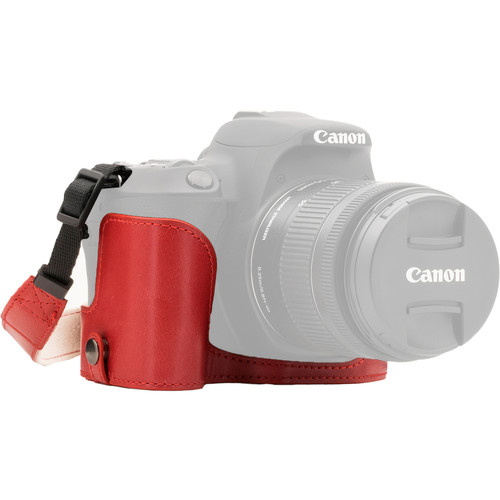 MegaGear Ever Ready Half Case and Strap for Canon EOS Rebel SL2, EOS 200D, Kiss X9 (Red)