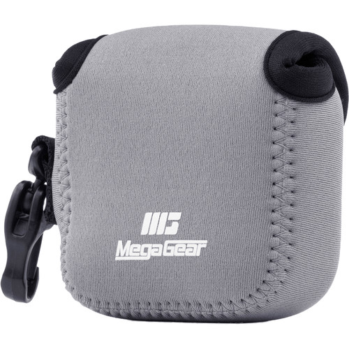 MegaGear Ultra-Light Neoprene Camera Case for Gopro Hero 6, Hero 5 and Sony RX0 1.0 with Carabiner (Gray)
