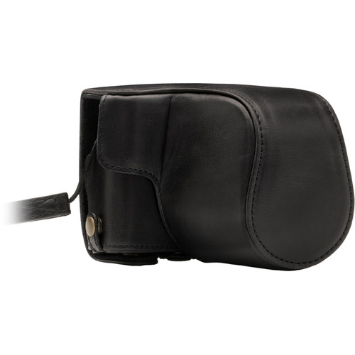 MegaGear Ever Ready PU Leather Case with Strap for Canon M100 with 15-45mm (Black)