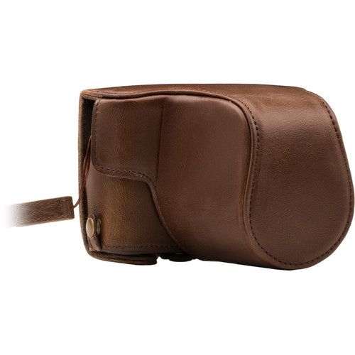 MegaGear Ever Ready PU Leather Case with Strap for Canon M100 with 15-45mm (Dark Brown)