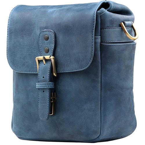 MegaGear Leather Camera Messenger Bag (Blue)