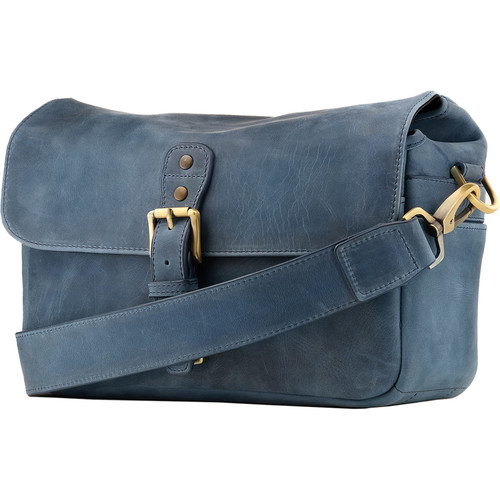 MegaGear Leather Camera Messenger Bag (Blue)