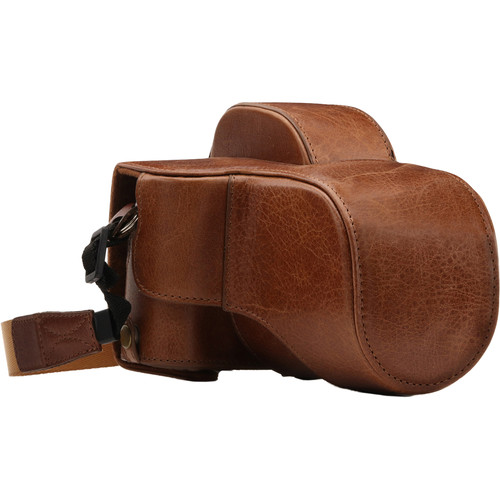 MegaGear Ever Ready Leather Camera Case for Fujifilm X-E3 with 23mm or 18-55mm Lens (Light Brown)