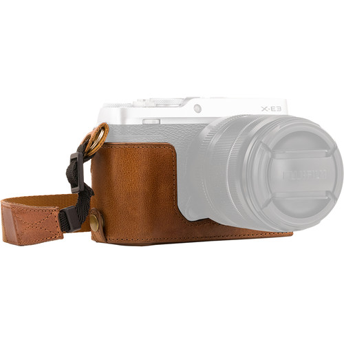 MegaGear Ever Ready Leather Half Case and Strap for Fujifilm X-E3 (Light Brown)
