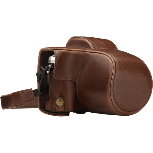 MegaGear Ever Ready Leather Camera Case for Olympus OM-D E-M10 Mark III with 14-42mm Lens (Dark Brown)