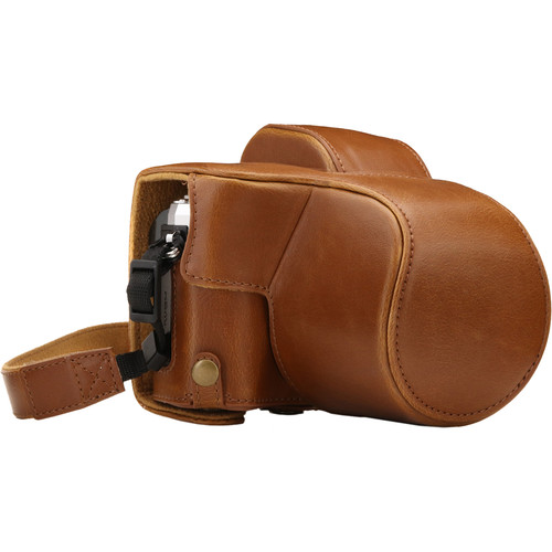 MegaGear Ever Ready Leather Camera Case for Olympus OM-D E-M10 Mark III with 14-42mm Lens (Light Brown)