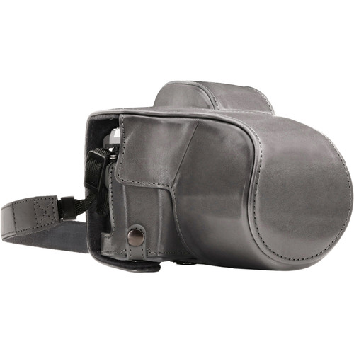 MegaGear Ever Ready Leather Camera Case for Olympus OM-D E-M10 Mark III with 14-42mm Lens (Gray)