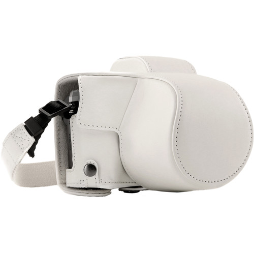 MegaGear Ever Ready Leather Camera Case for Olympus OM-D E-M10 Mark III with 14-42mm Lens (White)