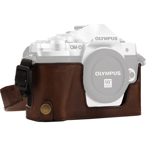 MegaGear Ever Ready Half Case and Strap for Olympus OM-D E-M10 Mark III (Dark Brown)