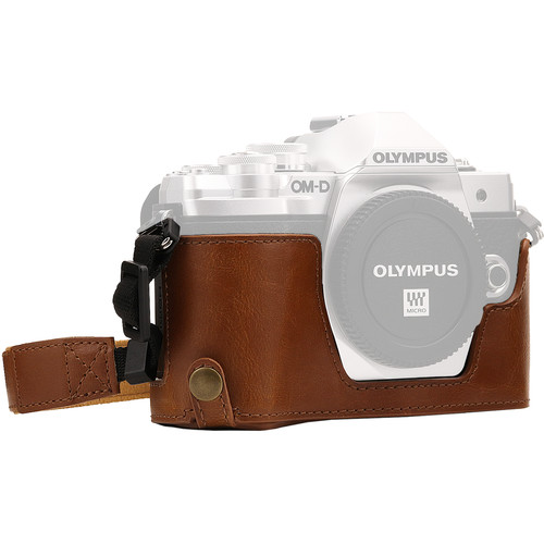 MegaGear Ever Ready Half Case and Strap for Olympus OM-D E-M10 Mark III (Light Brown)
