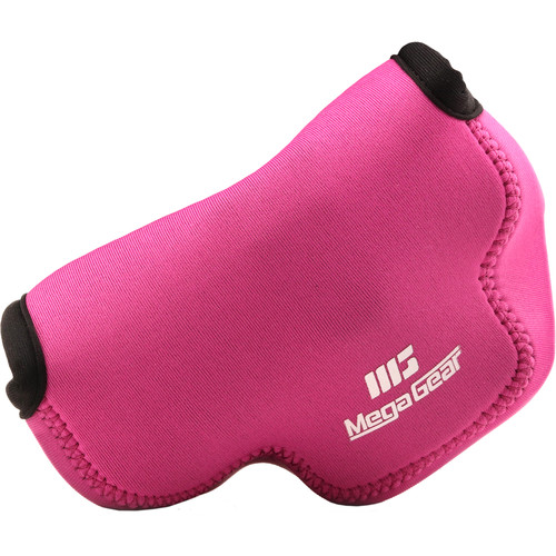 MegaGear Ultra-Light Neoprene Camera Case with Carabiner for Olympus OM-D E-M10 Mark III with 14-42mm (Hot Pink)