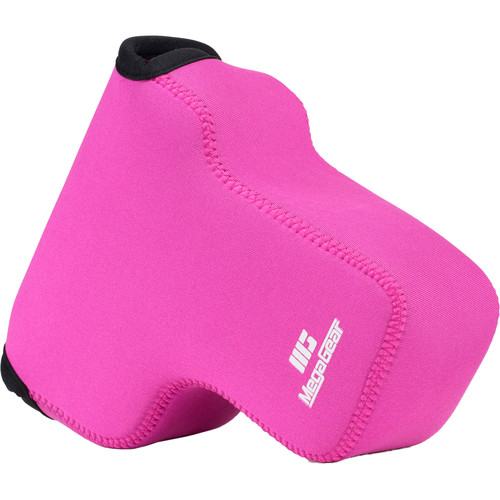 MegaGear Ultra-Light Neoprene Camera Case with Carabiner for Lumix DC-GH5 14-140mm (Hot Pink)