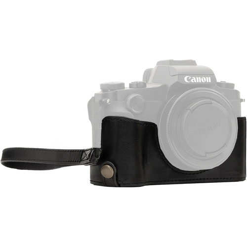 MegaGear Ever Ready Leather Camera Half Case and Strap for Canon PowerShot G1X Mark III (Black)