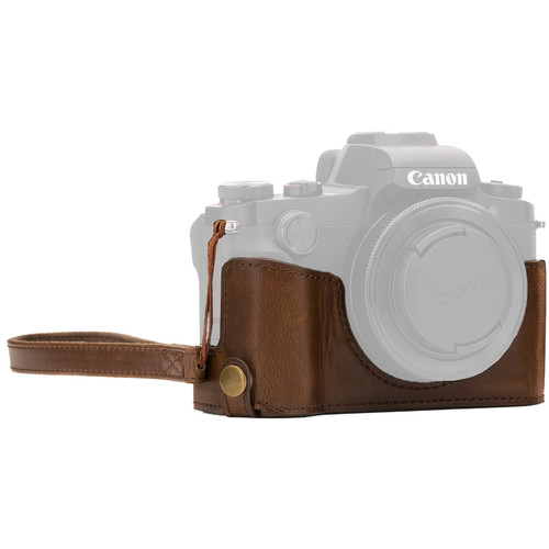 MegaGear Ever Ready Leather Camera Half Case and Strap for Canon PowerShot G1X Mark III (Dark Brown)