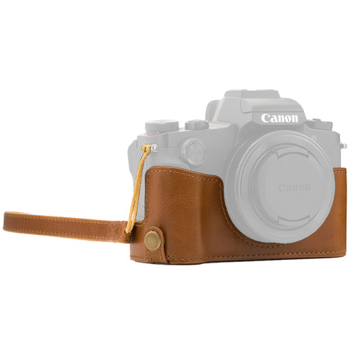 MegaGear Ever Ready Leather Camera Half Case and Strap for Canon PowerShot G1X Mark III (Light Brown)