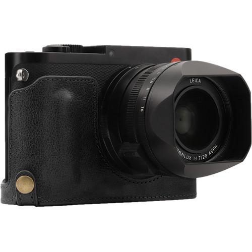MegaGear Genuine Leather Camera Half Case and Strap for Leica Q-P, Q Type 116 (Black)