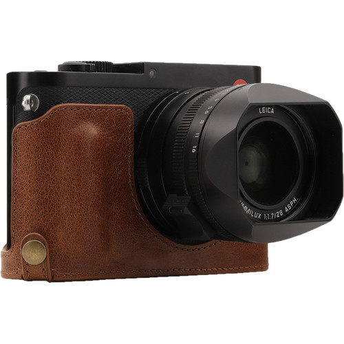 MegaGear Genuine Leather Camera Half Case and Strap for Leica Q-P, Q Type 116 (Brown)