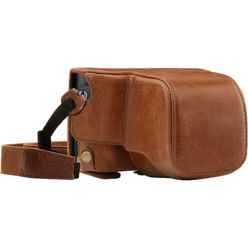 MegaGear Ever Ready Genuine Leather Camera Case and Strap for Leica Q-P, Q Type 116 (Brown)