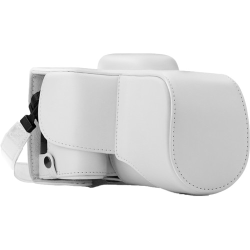 MegaGear Ever Ready PU Leather Case and Strap for Nikon D3400 with 18-55mm Lens (White)
