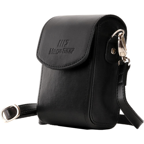 MegaGear Leather Camera Case with Strap for Panasonic Lumix ZS200, TZ200, Leica C-Lux (Black)