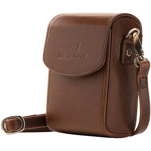 MegaGear Leather Camera Case with Strap for Panasonic Lumix ZS200, TZ200, Leica C-Lux (Dark Brown)