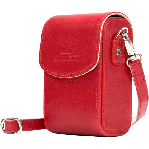 MegaGear Leather Camera Case with Strap for Panasonic Lumix ZS200, TZ200, Leica C-Lux (Red)