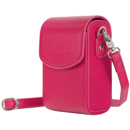 MegaGear Leather Camera Case with Strap for Panasonic Lumix ZS200, TZ200, Leica C-Lux (Hot Pink)