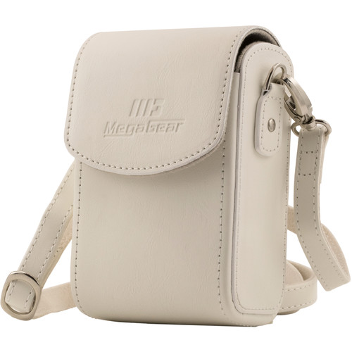 MegaGear Leather Camera Case with Strap for Panasonic Lumix ZS200, TZ200, Leica C-Lux (White)