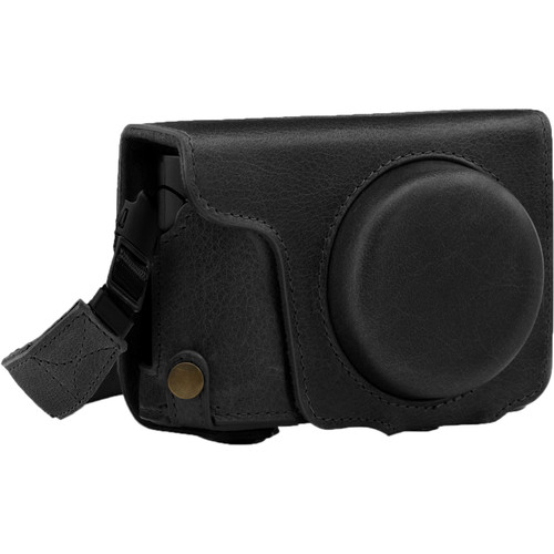 MegaGear Ever Ready Genuine Leather Camera Case and Strap for Panasonic Lumix DC-ZS200 (Black)