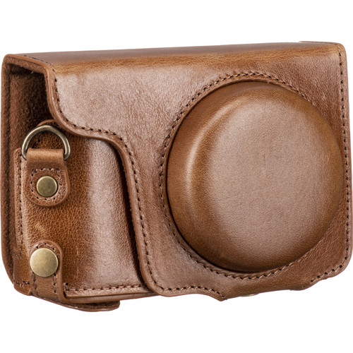 MegaGear Ever Ready Genuine Leather Camera Case and Strap for Panasonic Lumix DC-ZS200 (Brown)