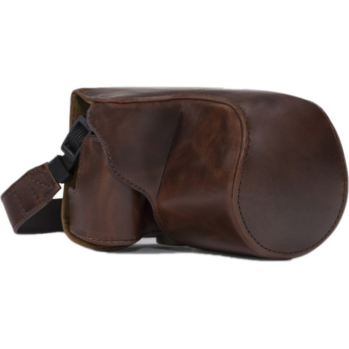 MegaGear Ever Ready PU Leather Camera Case with Strap for Canon PowerShot SX520 HS, SX510 HS (Dark Brown)