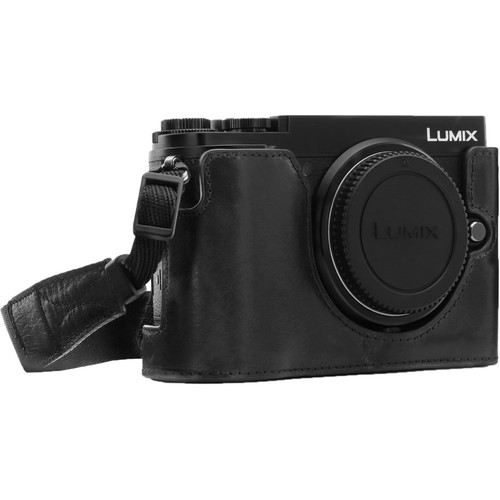 MegaGear Ever Ready PU Leather Half Case and Strap for Panasonic Lumix DC-GX9 (Black)