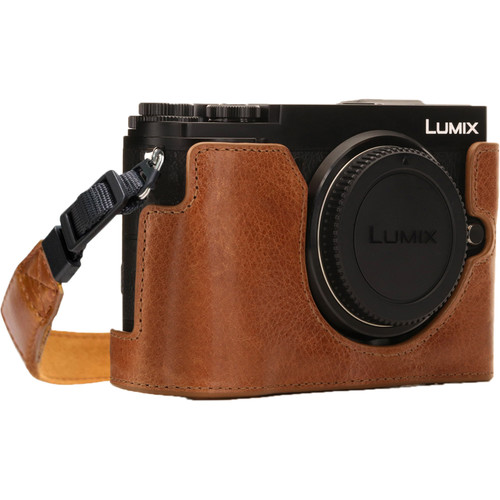 MegaGear Ever Ready PU Leather Half Case and Strap for Panasonic Lumix DC-GX9 (Light Brown)