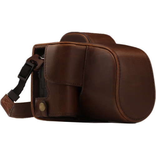 MegaGear Ever Ready PU Leather Case and Strap for Canon EOS M50 with 15-45mm Lens (Dark Brown)
