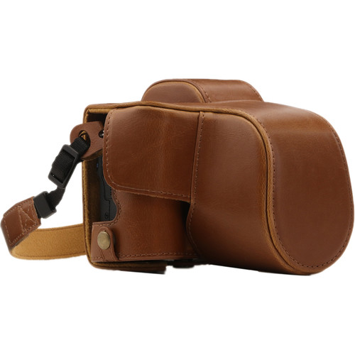 MegaGear Ever Ready PU Leather Case and Strap for Canon EOS M50 with 15-45mm Lens (Light Brown)