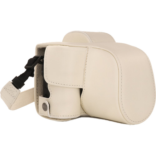 MegaGear Ever Ready PU Leather Case and Strap for Canon EOS M50 with 15-45mm Lens (White)