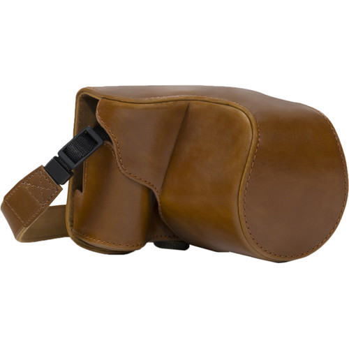 MegaGear Ever Ready PU Leather Camera Case with Strap for Canon PowerShot SX520 HS, SX510 HS (Light Brown)