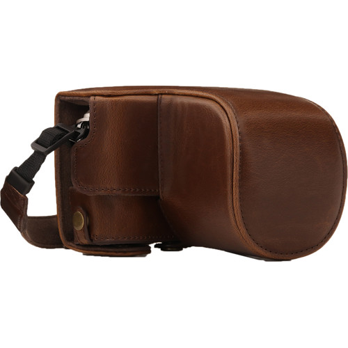 MegaGear Ever Ready PU Leather Case and Strap for Olympus PEN E-PL9 with 14-42mm Lens (Dark Brown)