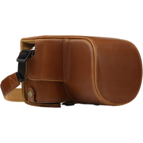 MegaGear Ever Ready PU Leather Case and Strap for Olympus PEN E-PL9 with 14-42mm Lens (Light Brown)
