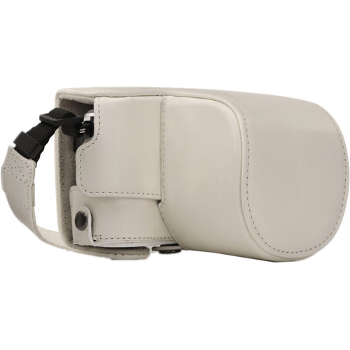 MegaGear Ever Ready PU Leather Case and Strap for Olympus PEN E-PL9 with 14-42mm Lens (White)