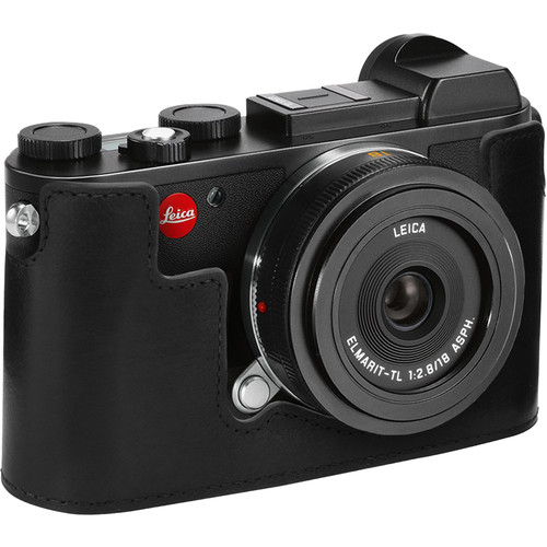 MegaGear Genuine Leather Camera Half Case and Strap for Leica CL (Black)