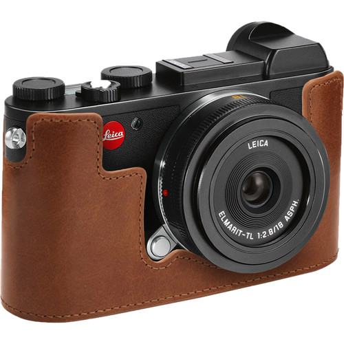 MegaGear Genuine Leather Camera Half Case and Strap for Leica CL (Brown)