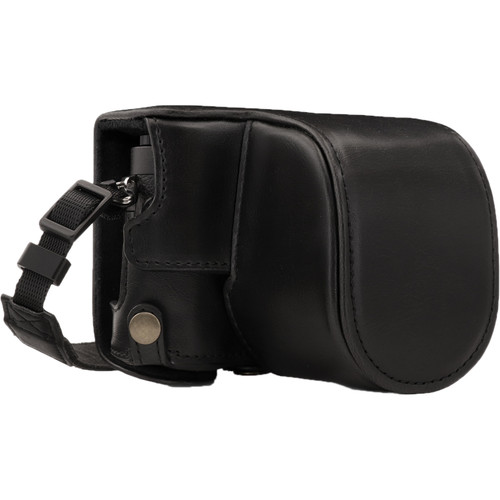 MegaGear Ever Ready PU Leather Case and Strap for Panasonic Lumix DC-GX950, DC-GF10 with 12-32mm Lens (Black)